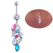 Lowpricenice(TM)Mixed Colour Rhinestone Jewellery Navel Body Piercing Belly Button Rings