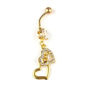 Lowpricenice(TM)Double Heart Belly Dangle Clear Navel Bar Gold Dangle Body Piercings