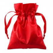 Satin Gift Bags Drawstring Pouches 7.6cm x 10cm Red