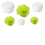 Generic Set of 12pcs Mixed 3 Sizes White Lime Green Tissue Paper Pom Poms Flower Wedding Party Baby Girl Room Nursery Decoration