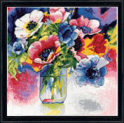 Design Works Crafts Anemonies Counted Cross Stitch Kit, 30cm by 30cm