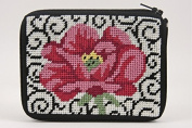 Coin Purse - Poppy On Scroll - Needlepoint Kit