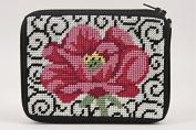 Coin Purse - Poppy On Scroll - Needlepoint Kit