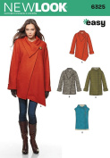 NEW LOOK 6325 Misses' Easy Coat with Length and Front Variations, and Vest, Size