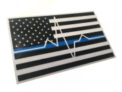Thin White EMS EMT Paramedic Blue Line Reflective 3.75 X 2.25 Decal EKG Sticker United States Us Flag Tactical Police Law Enforcement