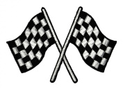 Chequered Flag Motorsport Car Racing DIY Applique Embroidered Sew Iron on Patch CF-01