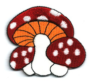 Red Mushroom Applique Embroidered Sew Iron on Patches Size 5.5 x 5 Cm.