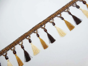 Brown Indian Trim Craft Tassel Ribbon 4†Wide Curtain Lace Indian By The Yard