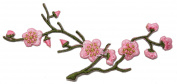 ID #6262 Pink Cherry Blossom Sakura Flowering Tree Branch Iron On Applique Patch