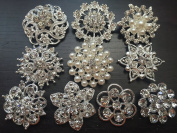 10 pcs Large Assorted Rhinestone Buttons Brooch Embellishment Set Pearl Crystal Wedding Brooch Bouquet US Seller BT165