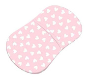 SheetWorld Fitted Bassinet Sheet (Fits Halo Bassinet Swivel Sleeper) - Hearts Pastel Pink Woven - Made In USA