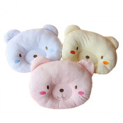 KSB Cute Bear Cotton & Velvet Soft Anti Roll Baby Head Positioner Pillow, Prevent Flat Head Pillow for 3 Months~1 Year