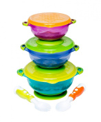 Stay Put and Spill Proof Complete Suction Bowl Set with 3 Different Size Bowls, Lids, and a Bonus Fork and Spoon Perfect for Storage FDA Approved BPA Free