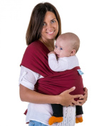 Custom-fit Baby Wrap Carrier for Comfortable Babywearing | Stretches As Baby Grows | Allows Easy Breastfeeding | Fast On-and-off | No Belts or Buckles | By Eco Cub | Dark Red