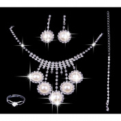 KAKA(TM) Crystal Bridal Jewellery Sets Necklace+Earrings+Ring+Bracelets Classic Wedding Party Accessory