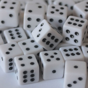 50 White Dice - 16mm