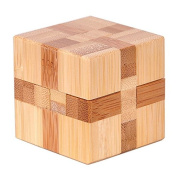 KINGOU Bamboo Magic Cube Lock Logic Puzzle Burr Puzzles Brain Teaser Intellectual Removing Assembling Toy