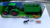 Farmer John Big Farm Tractor 4wd with Trailer Truck 36cm Long Toy & 5 Farm Animals in Trailer 8 Wheels Friction Powered Fully Detailed.