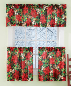 Floral Poinsettia Holiday Cafe Curtain Set