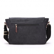 Eshow Men's Retro Canvas Crossbody Messenger Bag, Black