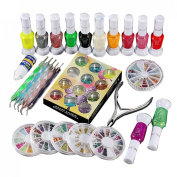 1 Set Polish Glue Gem Glitter Rhinestones Clipper Dotting Nail Art Manicure Tool
