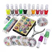 1 Set Polish Glue Gem Glitter Rhinestones Clipper Dotting Nail Art Manicure Tool