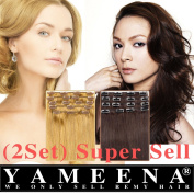 Yameena® 100% Remy Human Hair Extensions Clip in Human Hair Extensions 9 Pieces 41cm - 60cm 8 Colours 120-125g