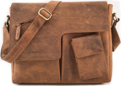 "LEABAGS - Unisex Leather Satchel Flapover Shoulder Bag ""MANCHESTER"" Vintage Style made of Genuine Buffalo Leather"