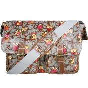 D Fashion® Designer Oilcloth Owl Print Satchel Messenger Bag Crossbody Shoulder Bag