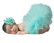 Jishen Newborn Baby Infant Lovely Costume TuTu Dress Flower Headband Outfit Costume Photo Props 0-3 Months