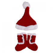 Lalang Cute Boys Girls Winter Woollen Hats Shoes Christmas Party Hats Shoes for Baby 3-12 Month