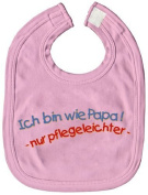 "(07076 pink) Slobber cloth baggy bib bib Baby bibs with printed motif ""Ich bin like Papa! only easy to clean"" NEW"