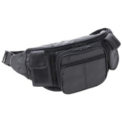 Large Black Genuine Lambskin Leather Fanny Pack Waist Bag with Cell Phone Pouch