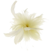 Cherry Feather Fascinator on Clip in Ivory