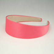 "Annielov 40mm (1 1/2"") Plastic headband covered with Satin Silk fabric Wide Headbands Hair accessories Alice band - Coral"