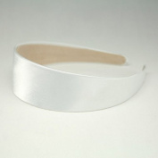"""Annielov 40mm (1 1/2"""") Plastic headband covered with Satin Silk fabric Wide Headbands Hair accessories Alice band - White"""