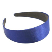 "Annielov 40mm (1 1/2"") Plastic headband covered with Satin Silk fabric Wide Headbands Hair accessories Alice band - Blue"