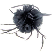 Lillie Soft Feather Fascinator on Band in Black