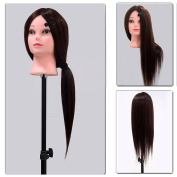 Neverland Beauty 60cm 50% Real Hair Hairdressing Equipment Training Head With Free Clamp For College and Professional Use Dark Brown