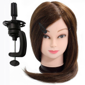 Neverland Beauty 100% Real Hair 50cm Hairdressing Equipment Training Head With Free Clamp For College and Professional Use