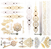 Beautiful Metallic Temporary Tattoo Set - Henna Style Set 3 (5 sheets) by ReignBeau B