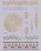 GOLDEN Tattoo Flash Tattoos Oriental ornaments Flower Temporary Tattoo YS-118 - LK Trend & Style