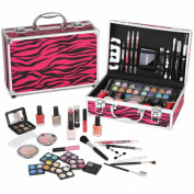 Ivation Carry All Makeup Train Case with Pro Makeup and Reusable Aluminium Case, Red Zebra 60 Piece