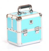 Urbanity Turquoise Crocodile Aluminium Makeup Cosmetic Vanity Beauty Case Box Bag