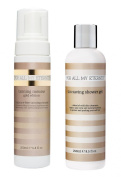 For All My Eternity Gold Edition Tanning Mousse & Tan Saving Shower Gel - Certified Organic DHA Self Tan with Natural Ingredients for Face Body Arms and Legs
