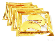 Palestren Collagen Eye Masks - 10 x Pairs of Crystal GOLD Anti-Wrinkle Anti-Ageing Under Eye Gel Patch powder Mask Facial Moisturiser
