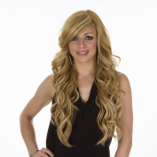 60cm Long Golden Blonde Glamorous Curly Claudia Wig | Side sweeping fringe | Multi Tonal Blonde Highlights