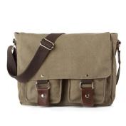 Moolee Vintage Canvas Leather Schoolbag Military Shoulder Crossbody Messenger Bag - army green