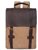Voguees Canvas Travel Backpack School Bags Rucksack Small Size Khaki