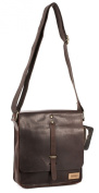 M93032 05 Brown Leather Designer Le Craf Leander Messenger Tablet iPad Bag